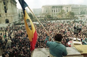 Waving a Flag Above Crowd